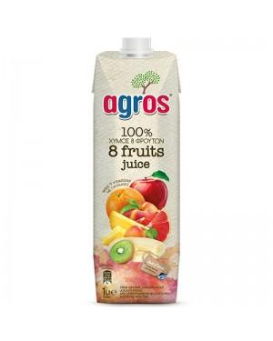 """Χυμός Φυσικός 8 φρούτα """"Agros"""" 1L"""