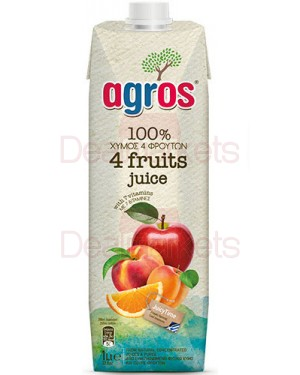 """Χυμός Φυσικός 4 φρούτα """"Agros"""" 1L"""