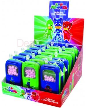 Pj-masks παιχνίδι κινητό τηλέφωνο με καραμέλες 5gr display 18τεμ