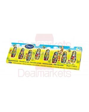 Only πασχαλινές φιγούρες σοκ. γάλακτος 40gr (8x5gr)