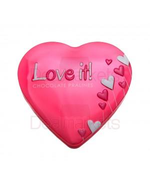 Maitre truffout σοκολατάκια σε μεταλλική καρδιά (ροζ) 100gr