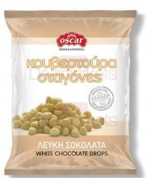 Oscar κουβερτούρα σε σταγόνες λευκή σοκολάτα 100gr