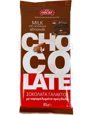 Oscar σοκολάτας γάλακτος με καραμ. αμύγδαλα flow pack 85gr