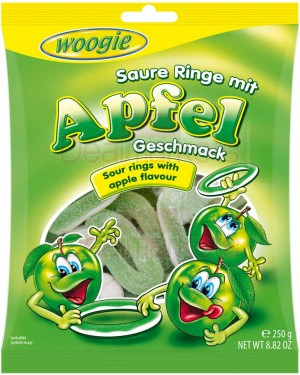 Ζελεδάκια Ξινά Woogie γεύση μήλου δαχτυλιδιού 250gr