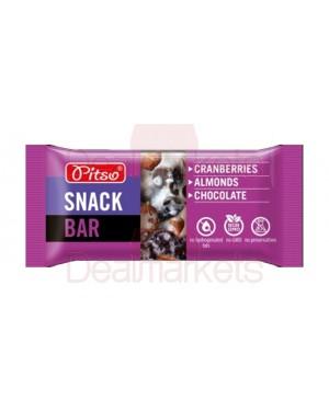 Pitso snack μπάρα με cranberry αμύγδαλο & σοκολάτα 50gr display 20 τεμ