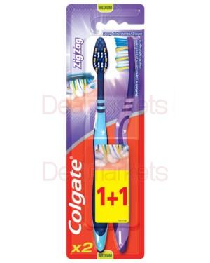 Colgate οδοντόβουρτσα zig zag medium  1+1