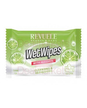 Revuele wet wipes αντισηπτικά αλκοολούχα μαντηλάκια με lime 20τεμ