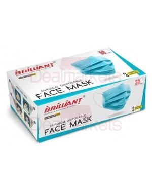 Brilliant μάσκα προσώπου surgical (χειρουργική) 50τεμ