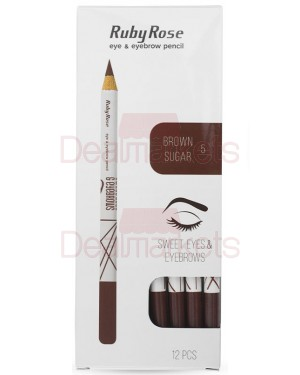 Ruby rose μολύβι φρυδιών 096 νο 5 (brown sugar) display 12τεμ