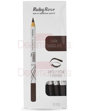 Ruby rose μολύβι φρυδιών 096 νο 7 (dark chocolate) display 12τεμ