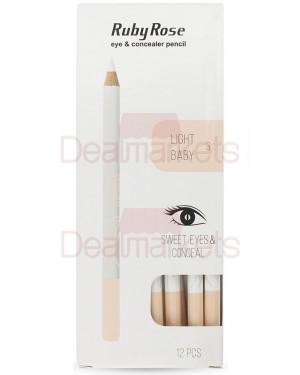 Ruby rose μολύβι ματιών/concealer 096 νο 3 (light baby) display 12τεμ