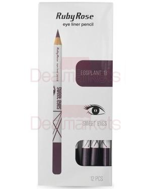 Ruby rose μολύβι ματιών 096  no 13 (eggplant) display 12τεμ