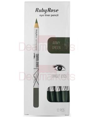 Ruby rose μολύβι ματιών 096 νο 18 (army green) display 12τεμ