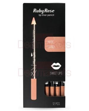 Ruby rose μολύβι χειλιών 095 νο 1 (nude sand) display 12τεμ