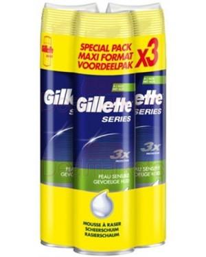 Gillette series αφρός ξυρίσματος 250ml χ 3 τεμ (εις.)