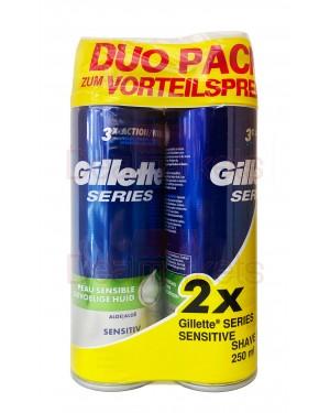 Gillette αφρός ξυρίσματος series sensitive 3x action (duo pack) 250ml (εισ.)
