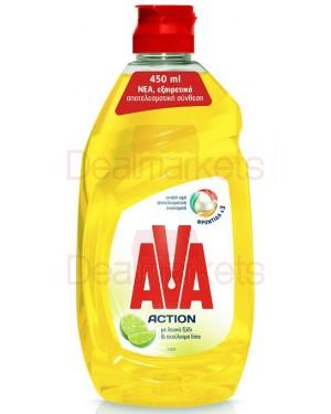 Ava action υγρό πιάτων λευκό ξύδι και λαιμ 430ml