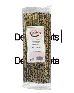Dims χάρτινα καλαμάκια leopard pattern 24τμχ 19.5cm