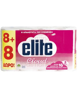 Elite cloud χαρτί υγ. 3φ. (8+8δωρο) 16x75gr