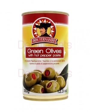 Ελιές πράσινες Don Fernando γεμιστές με καυτερή πιπεριά 350gr