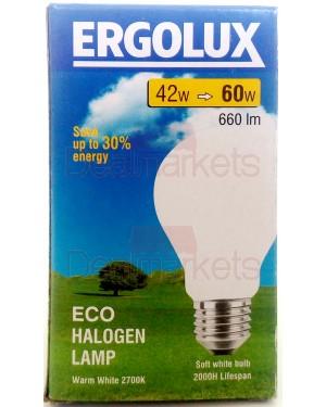 Λάμπα αλογόνο Ergolux λευκή Ε27-42 / 60W βιδωτή