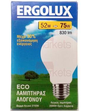 Λάμπα αλογόνου Ergolux λευκή E27-52/75W κερί βιδωτή