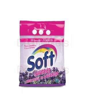 Σκόνη πλυντηρίου Soft με άρωμα Λεβάντα 18 + 2 Μεζ στα 1.32kg