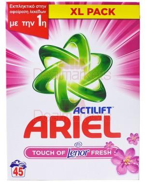 Ariel σκόνη πλυντ. touch of lenor 45mεz ελλ.
