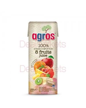 """Χυμός Φυσικός 8 φρούτα """"Agros"""" 250mL"""