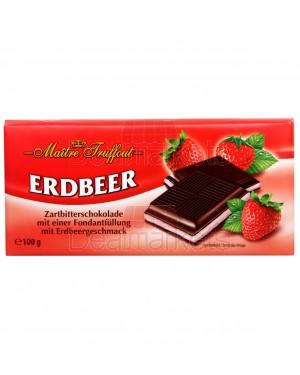 Σοκολάτα μαύρη Maitre Truffout με γέμιση φράουλα 100gr