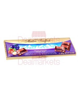 Σοκολάτα γάλακτος Maitre truffout με φουντούκια και σταφίδες 300gr