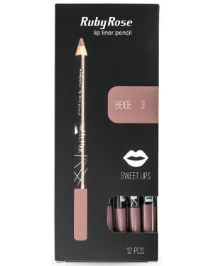 Ruby rose μολύβι χειλιών 095 no 3 (beige) display 12τεμ
