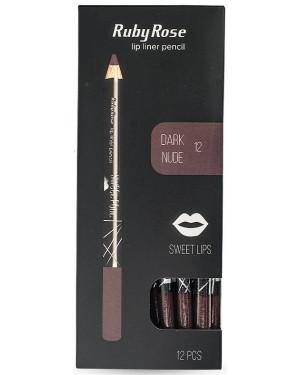 Ruby rose μολύβι χειλιών 095 νο12 (dark nud) display 12τεμ