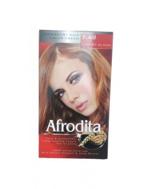 Βαφή μαλλιών μόνιμη Afrodita No7.40 χάλκινο χρυσ
