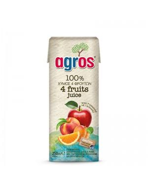 """Χυμός Φυσικός 4 φρούτα """"Agros"""" 250mL"""