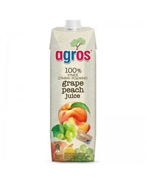 Χυμός Λευκό σταφύλι - ροδάκινο Agros 100% 1L