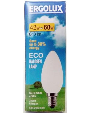 Λάμπα αλογόνου Ergolux λευκή E14-42/60W κερί βιδωτή
