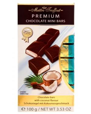 Μπάρες σοκολάτας γάλακτος Maitre truffout με καρύδα. 8 τεμάχια στα 12,5gr