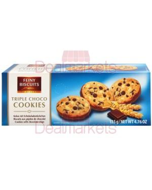 Μπισκότα Feiny triple choco cookies με τριπλή σοκολάτα 135gr