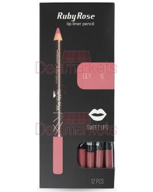 Ruby rose μολύβι χειλιών 095 νο 6 (lily) display 12τεμ
