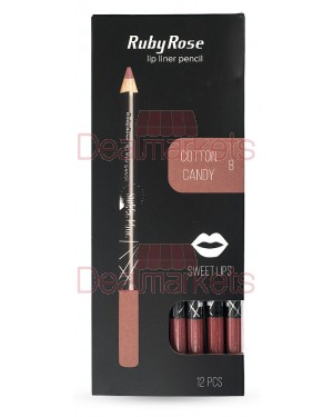 Ruby rose μολύβι χειλιών 095 νο8 (cotton candy) display 12τεμ