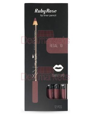Ruby rose μολύβι χειλιών 095 νο10 (regal) display 12τεμ