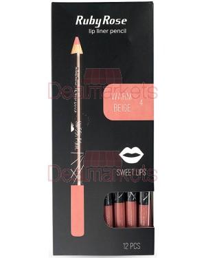 Ruby rose μολύβι χειλιών 095 νο4 (warm beige) display 12τεμ