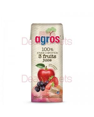 Χυμός Φυσικός Agros Μήλο-Σταφύλι-Φράουλα 250ml