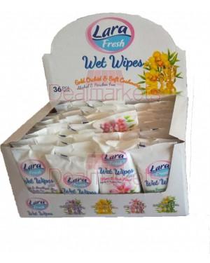Υγρά μαντηλάκια Lara με άρωμα λουλουδιών στα 15τεμ