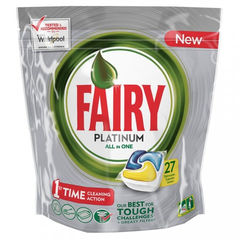 Fairy ταμπλέτες πιάτων platinum plus lemon 27τεμ (εισ.)